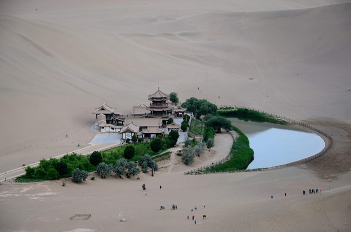 Danghe River. Danghe River changed its way, and most of its watercourses were covered by sand mountains